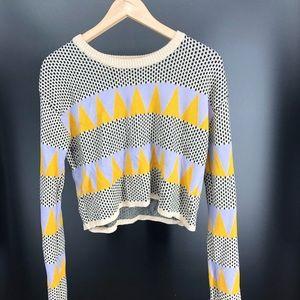 English Factory cropped geometric sweater Large